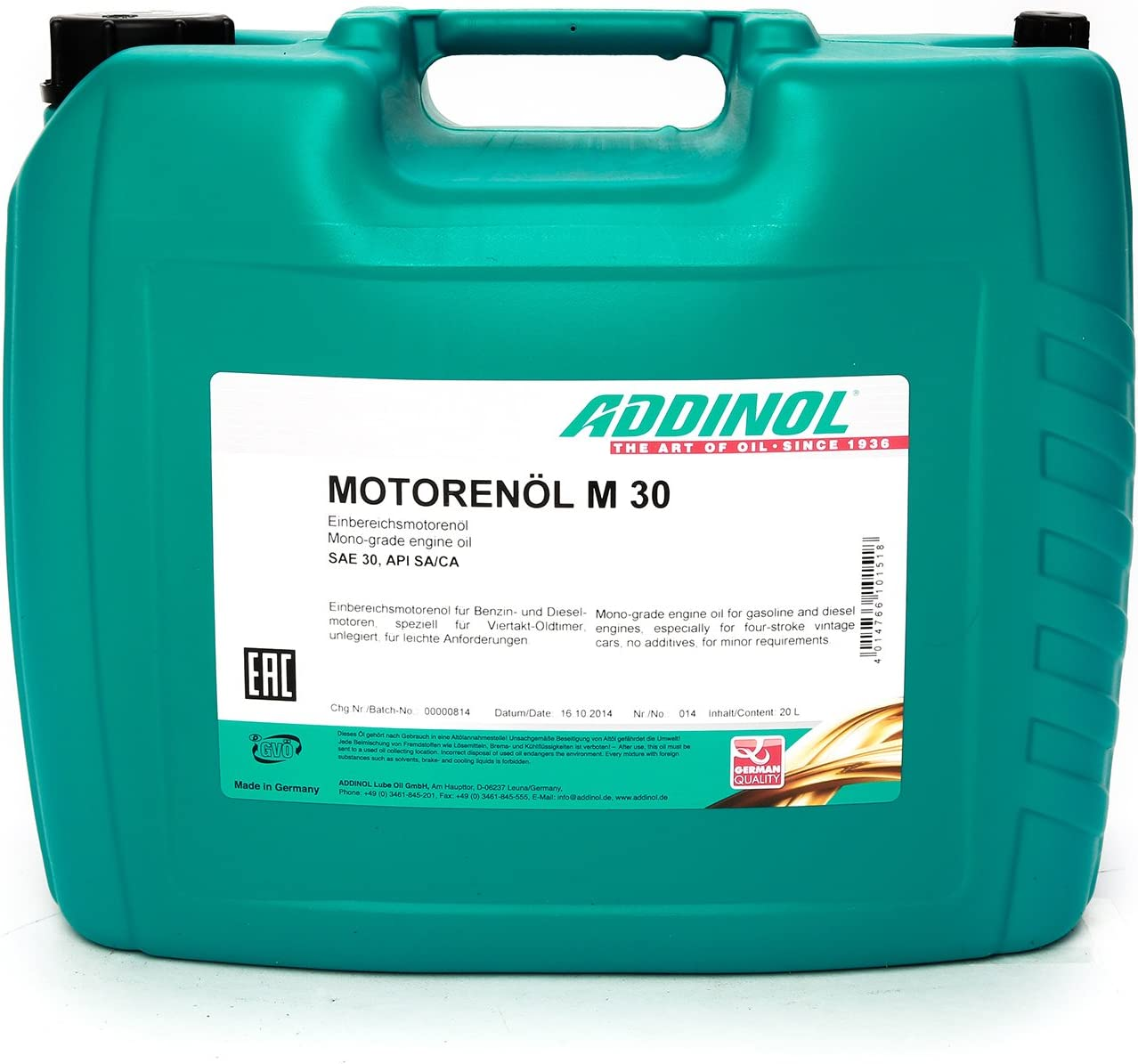 Addinol M30 Oldtimer MotorenÖl Sae Klasse 30 Viskosität 11 0 Mineralisch 20 L Kanister Auto