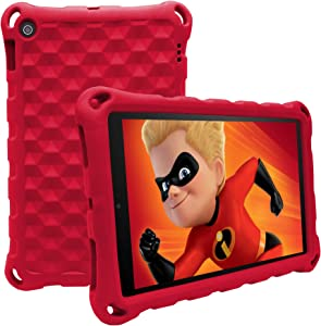 "Mr.Spades Case for All-New HD 10 Tablet (9th Gen 2019/7th Gen 2017/5th Gen 2015) - Anti Slip Shockproof Lightweight Protective Covers for 10.1"" Tablets(2015/2017/2019 Model),Red"