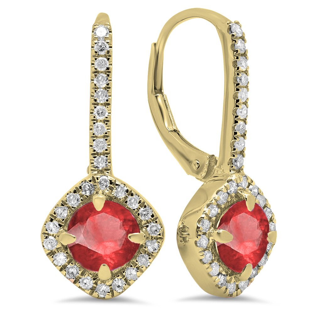 14K Yellow Gold Round Cut Ruby & White Diamond Ladies Halo Style Hoop Earrings