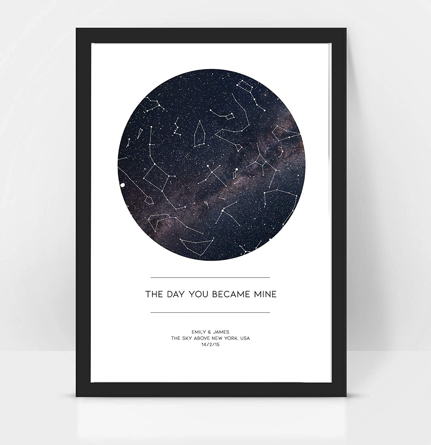 Personalizzato 'The Day You Became Mine' Anniversario/Matrimonio – Regalo Star MAP/Constellation Night Sky Print – regalo di compleanno/San Valentino A3 bianco