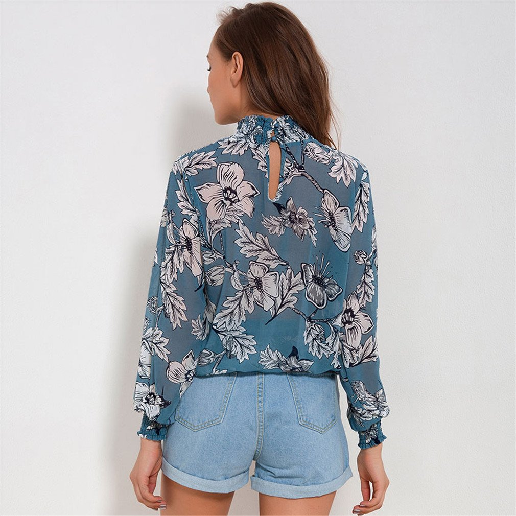 BBBai Spring Chiffon Blouse Long Sleeve Floral Print Blouses For Women Shirts Casual Ladies Tops at Amazon Womens Clothing store: