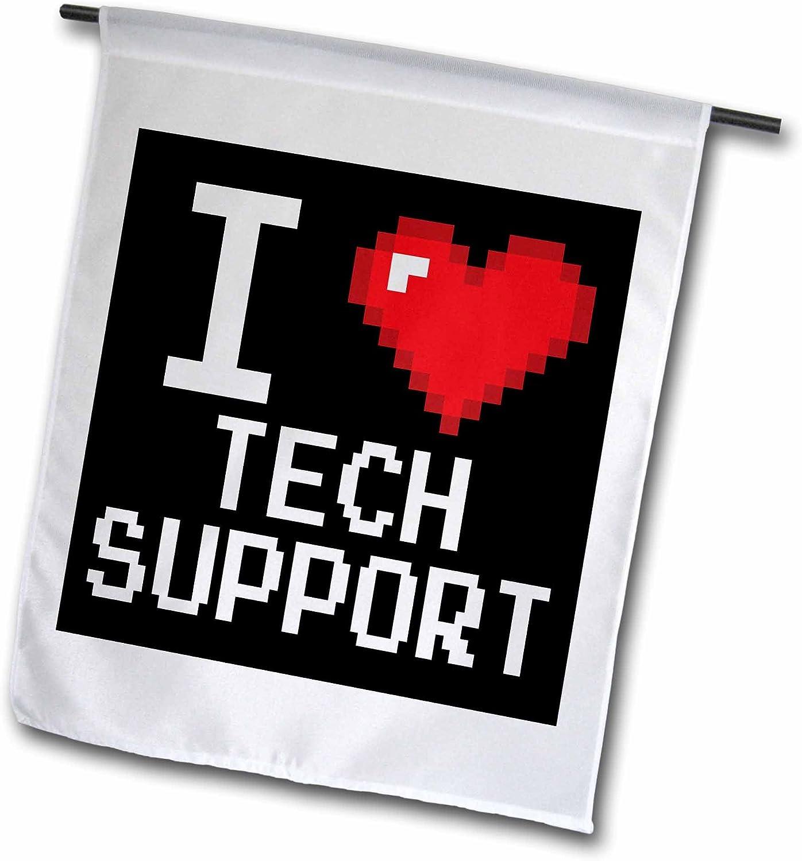 3dRose Dooni Designs Geek Designs - Geeky Old School Pixelated Pixels 8-Bit I Heart I Love Tech Support - 12 x 18 inch Garden Flag (fl_118943_1)