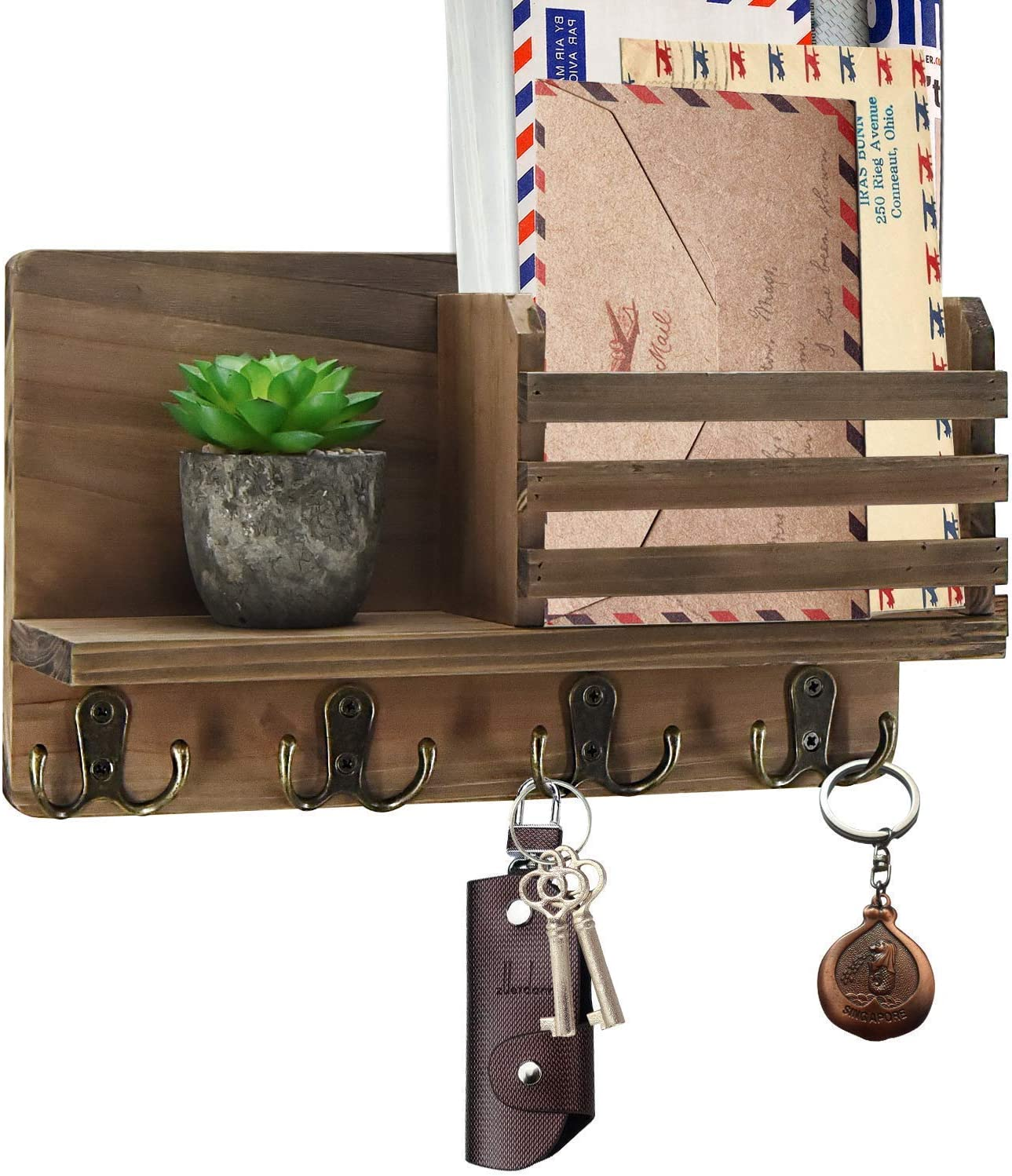 Y&ME YM Small Mail Organizer Wall Mounted, Rustic Key Hangers and Mail Sorter, Wood Decorative Mail Shelf with 4 Hooks, Key Holder for Wall, Wooden Key and Mail Holder for Wall Decorative