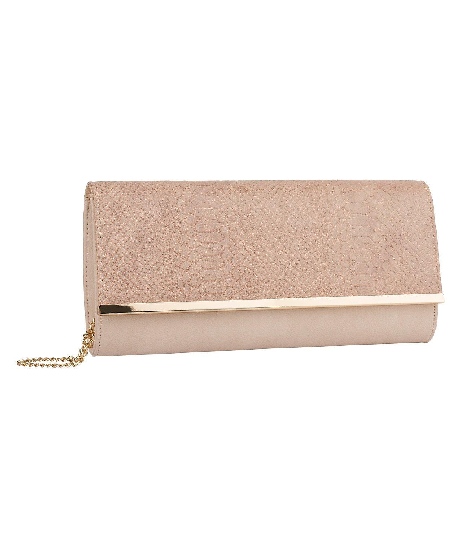 SIX Clutch: Edle Handtasche mit vergolderter Kette, Ü berschlag in Schlangenleder-Optik, auch als Umhä ngetasche, fü r feierliche Anlä sse, rosa (463-703)