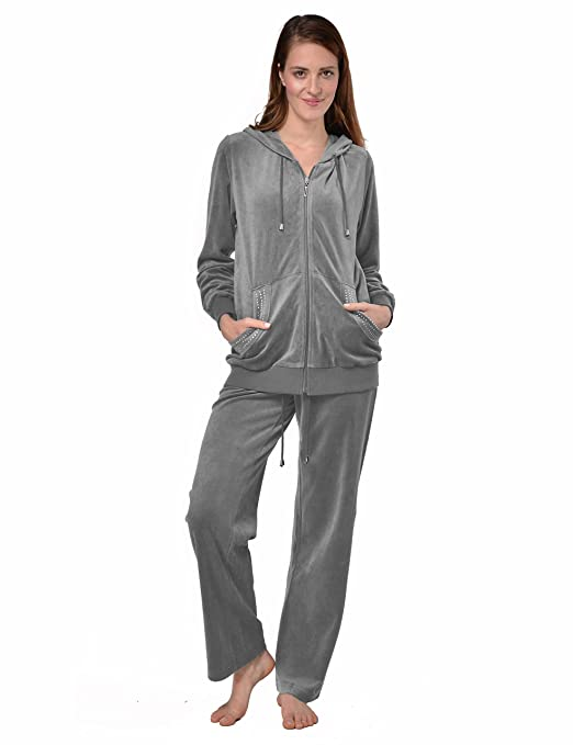 Raikou Damen Micro Velours Freizeitanzug Hausanzug mit Reißverschluss Nicki-Anzug Zweiteiliger Schlafanzug mit Strasssteinen
