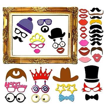60 Piezas DIY Photo Booth Props Cabina de Fotos Accesorios Máscara Gafas Labios Rojos Corbatas Sombreros Photocall Para Fiesta Mascarada Bodas Marco ...