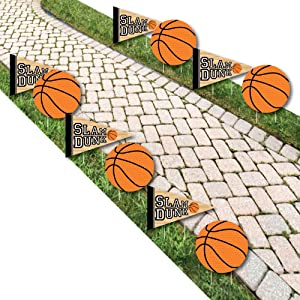 Big Dot of Happiness Nothin' but Net - Basketball Lawn Decorations - Outdoor Baby Shower or Birthday Party Yard Decorations - 10 Piece