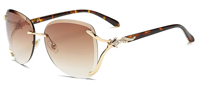 83bc32226b VOLCHIEN Diamond Rimless Sunglasses Metal Frame 2 Foxes with Eye for Women  Men UV Protection VC1012