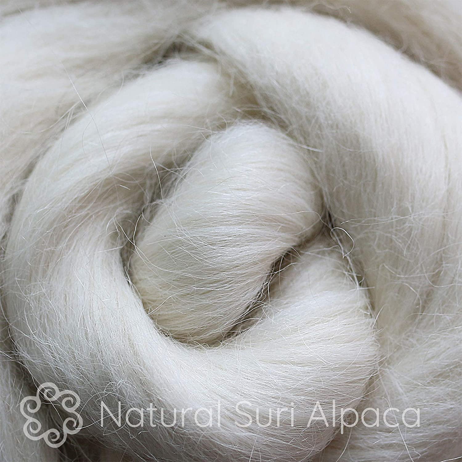 Natural White Combed Top. Suri Alpaca Fiber for Spinning Blending Felting Dyeing and Doll Making