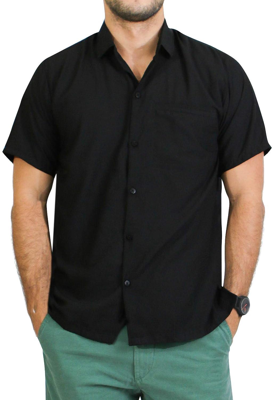 LA LEELA Casual Oficina Camisa Hawaiana Manga Corta Bolsillo Delantero Playa Halloween Plain Costume 6XL-Pecho Contorno(in cms):172-178 Negro_W878