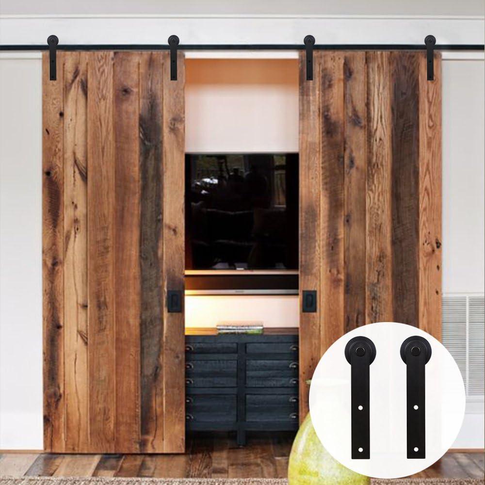 8FT/244cm Herraje para Puerta Corredera Kit para Puertas Dobles,Negro I-Forma(LWZH): Amazon.es: Bricolaje y herramientas