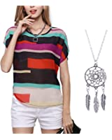 Tonsee Sexy Women Summer Perspective Casual Loose Chiffon Tops Blouse T-Shirt