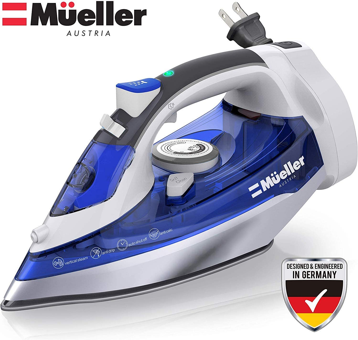 Mueller Steam Iron, Large Water Tank, Nonstick Stainless Steel Soleplate, 8 Ft Power Cord, 3 Way Auto Shut Off, Retractable Cord, Self Cleaning Function Image