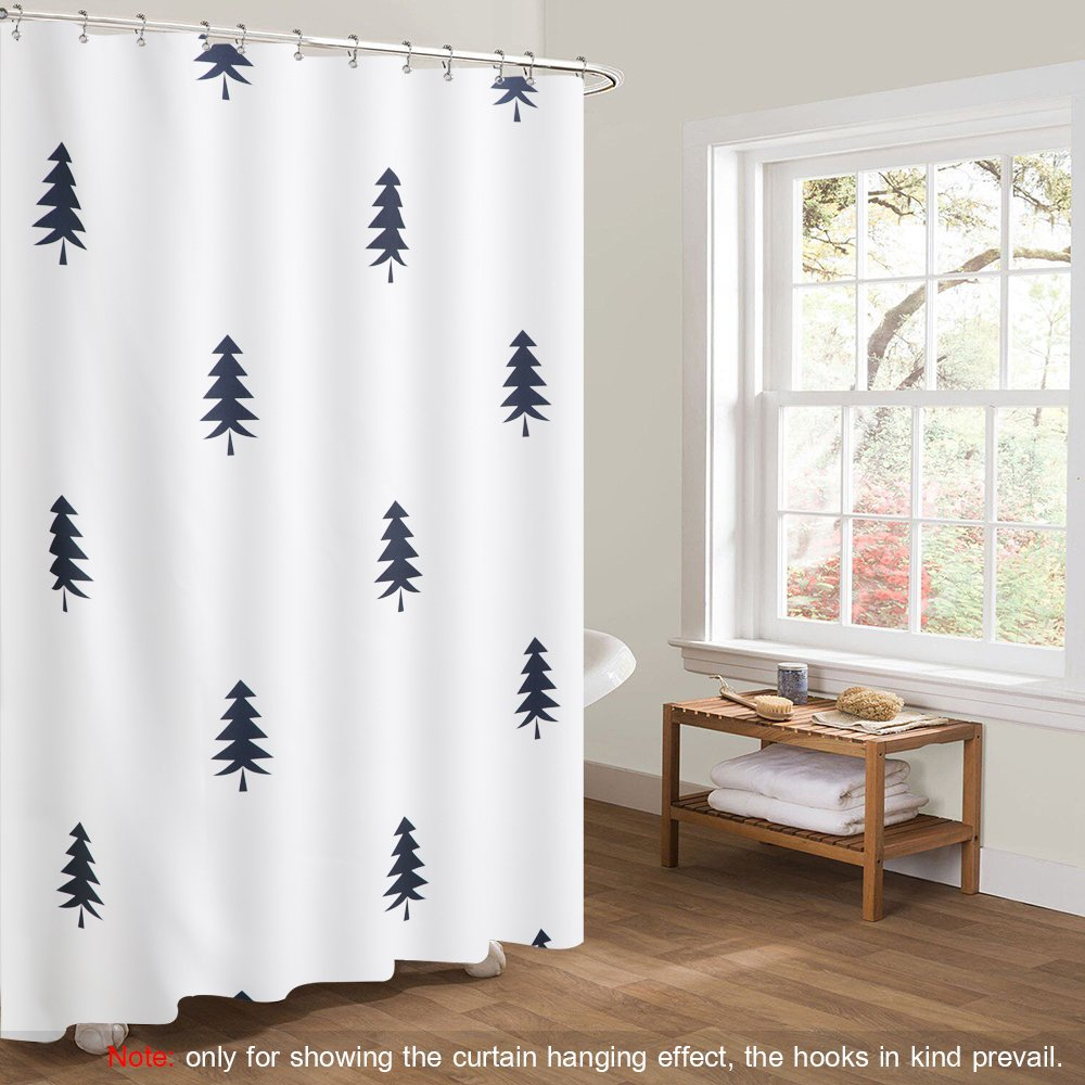 Htovila 72 * 72 inches White Polyester Waterproof Shower Curtain Anti-Corrosion Anti-Bacterial Privacy Protection Bathroom Curtain with Mesh Pockets 12pcs Plastic Hooks (Cobblestone)