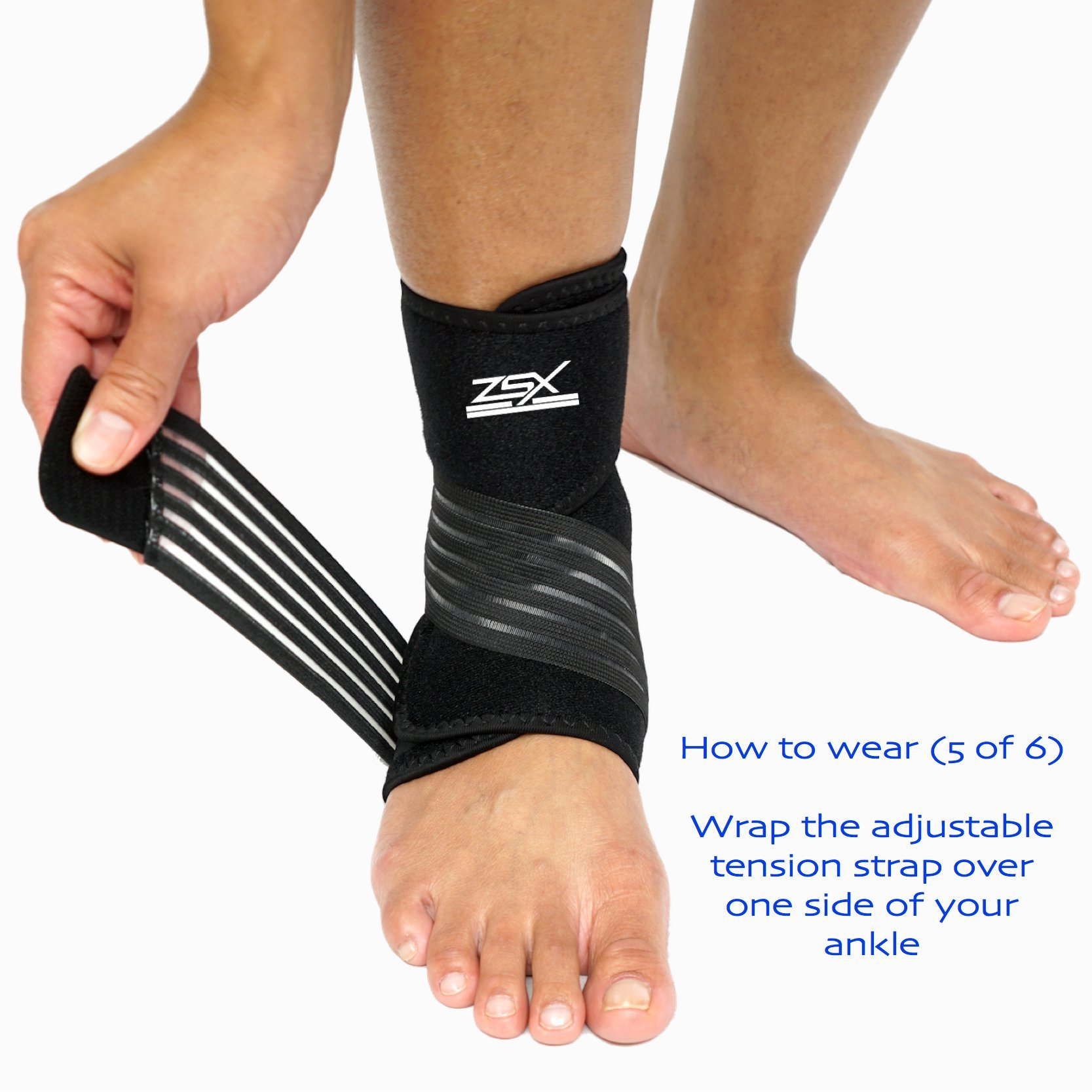 Ankle Brace (PAIR) with Bonus Straps, for Ankle Support, Plantar Fasciitis, or Swollen Ankles, One Size Fits Most, By ZSX SPORT (Foot Size - Reg) by ZSX (Image #7)