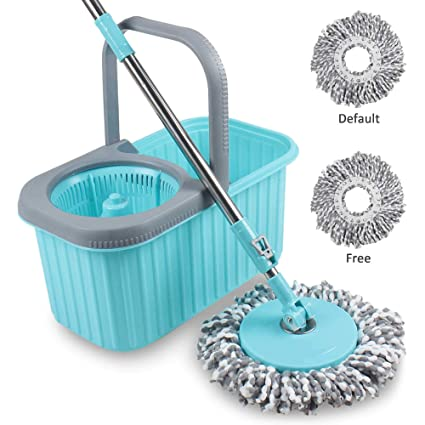 Smile Mom Spin Mop and Bucket Set with Easy Wheels for Best 360 Degree Floor Cleaning & 2 Refill Head
