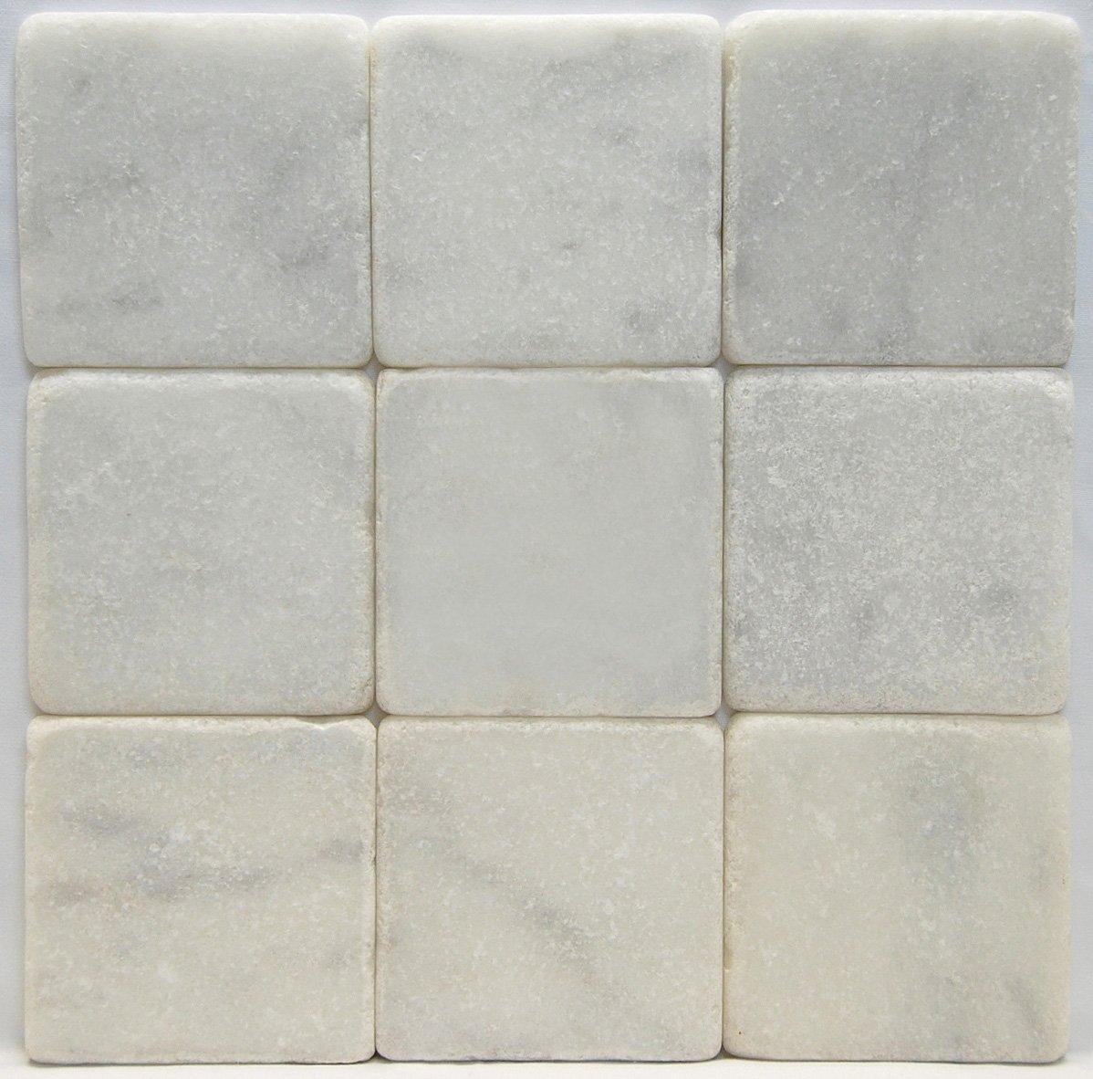 carrara marble italian white bianco carrera 4x4 marble tile tumbled amazoncom