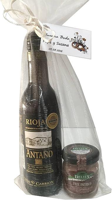 Regalo de vino Rioja Antaño con paté ibérico en bolsa de organza para invitados (Pack 24 ud): Amazon.es: Hogar