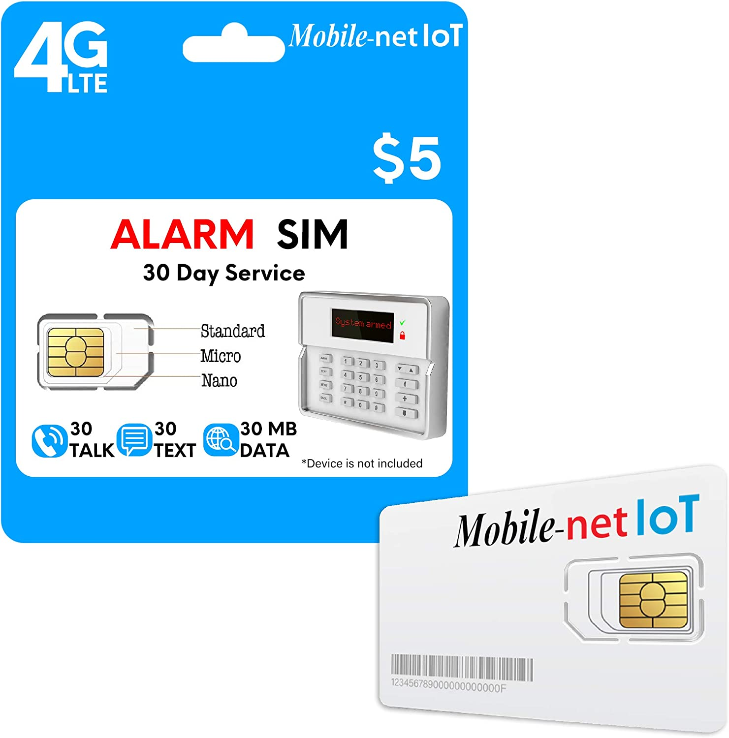 Mobile Net IoT $5 Nationwide AT&T 4G LTE Alarm SIM Card for GSM Business/Office/Home Security Burglar Anti-theft Alarm System & Monitoring