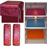 Unique Productions Combo of Plastic Refrigerator , Handle Cover and Mat, Standard Size, Maroon -Set of 3 pieces