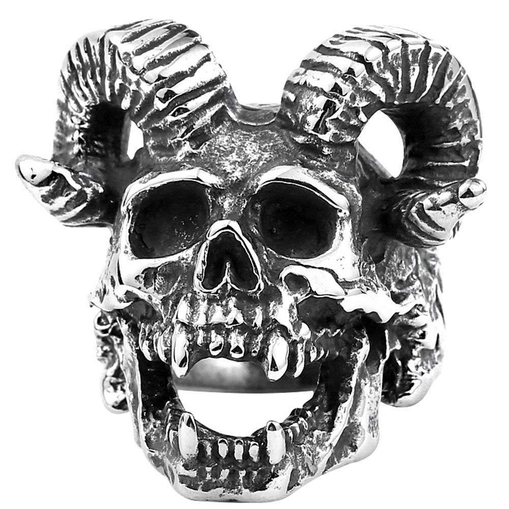 XBYN Uomo Gotico inossidabili Vintage Anelli Fascia d'Acciaio d'Argento Black Devil Fierce Skull Corni Motociclista Anelli XB-Ring