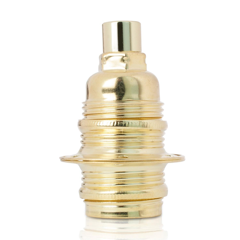 Fassung fü r Lampe E27, Metall Lampenfassung mit Auß engewinde und Schraubringen, verzinkt mit Zugentlastung in Nickel-Finish Lightstock