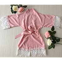 Blush Pink Girl Robe - Baby Robe con encaje Trim-Flower Girl Robe-Flower Girl Gift-Baby Shower Regalo-Tela de rayón