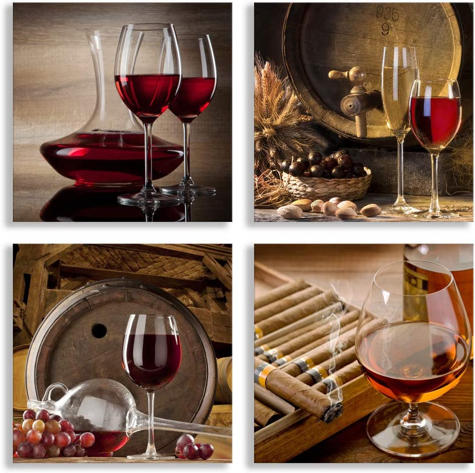 4 Pieces Kitchen Wall Decor Artwork,Modern Still Life Painting Red Wine Glass Canvas Wall Art Framed Ready to Hang for Home Decoration Bedroom Dining Room Pub Wall Mural Posters Prints