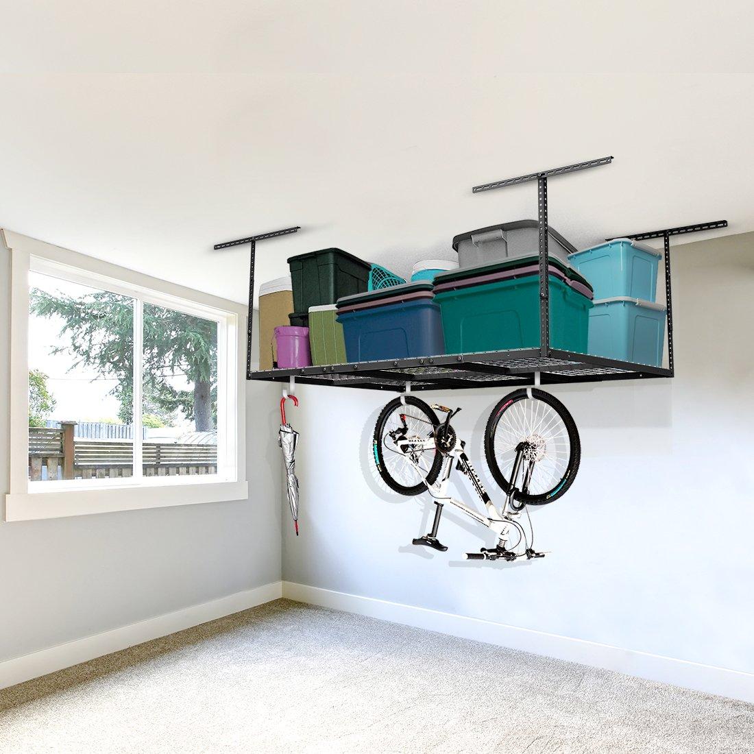 FLEXIMOUNTS 4x6 Heavy Duty Overhead Garage Adjustable Ceiling Storage Rack, 72'' Length x 48'' Width x 40'' Height, Black