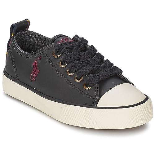 Polo Ralph Lauren - Zapatillas de Piel para niña Negro Negro: Amazon.es: Zapatos y complementos