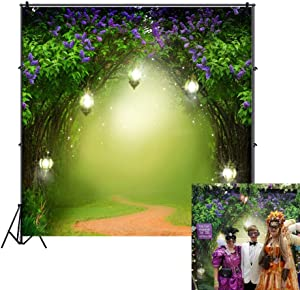 OFILA Seamless Fairy Forest Backdrop 8x8ft Magic Trees Elf Enchanted Garden Theme Baby Shower Party Kids Fantasy Wonderland Birthday Photos Little Girls Princess Portraits Toddlers Shoots Video Prop