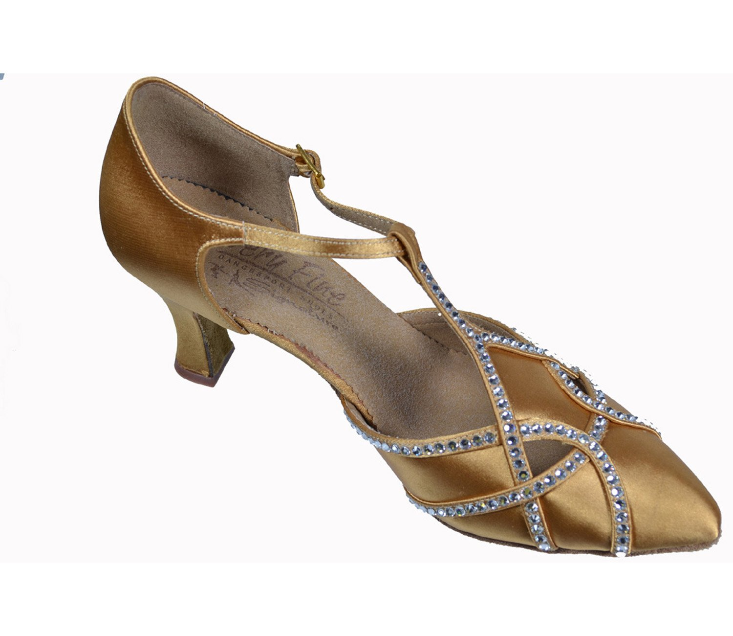 Very Fine Ladies Women Ballroom Dance Shoes RHEK11002 - S3801 Tan Satin Clear Rhinestones 2.5'' Heel (9.5M)