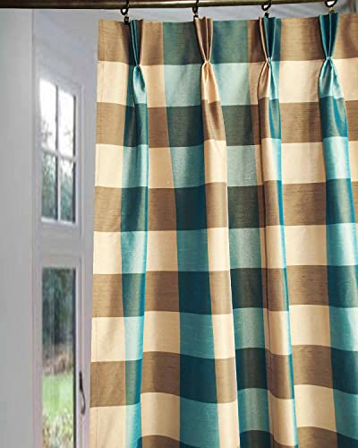 DS Blue Peach Buffalo Checks Faux Silk Bed Room Window Lined Pinch Pleated 27 Wide Curtain Panel Drape 27W X 120L