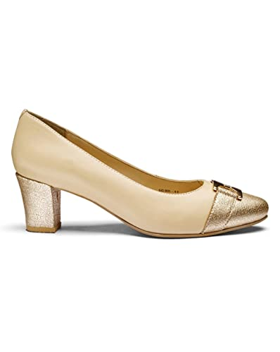 a552b332128 Heavenly Soles Trim Detail Leather Court Shoes Extra Wide Eee Fit   Amazon.co.uk  Shoes   Bags