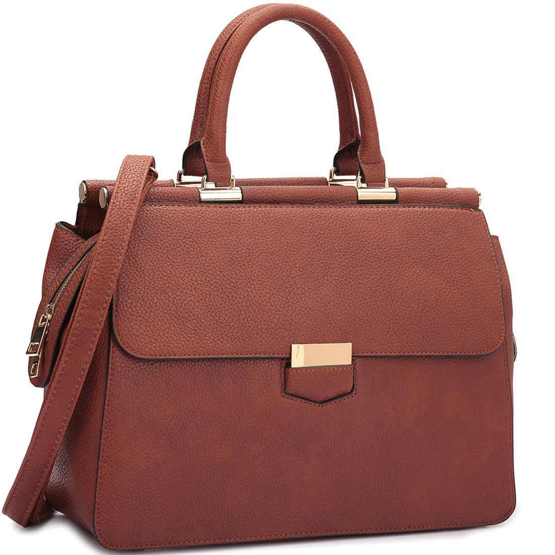 MKY Women Flapover Briefcase Leather Messenger Bag Designer Purse w/ Removable Shoulder Strap Brown