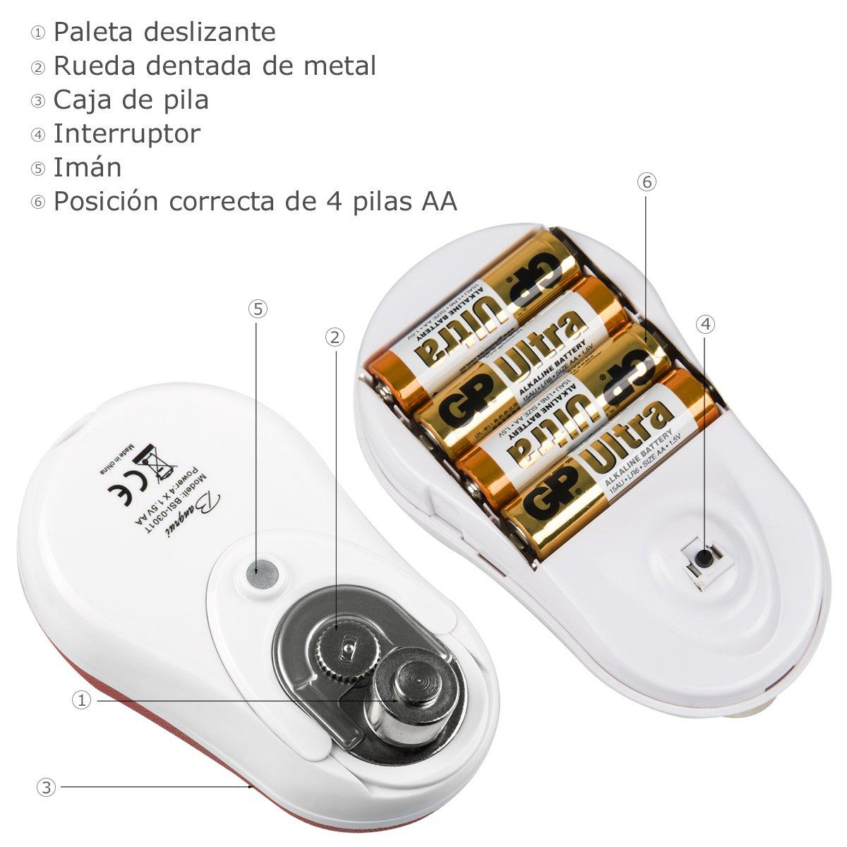 Abrelatas eléctrico de BangRui-Abrelatas de alta gama con parada automática inteligente (Rojo): Amazon.es: Hogar