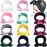 "11 Pack Velvet Baby Girl Headbands with Hair Bows Knotted Headwraps 5"" Bow Hair Bands for Babies Infant Newborn Kids"