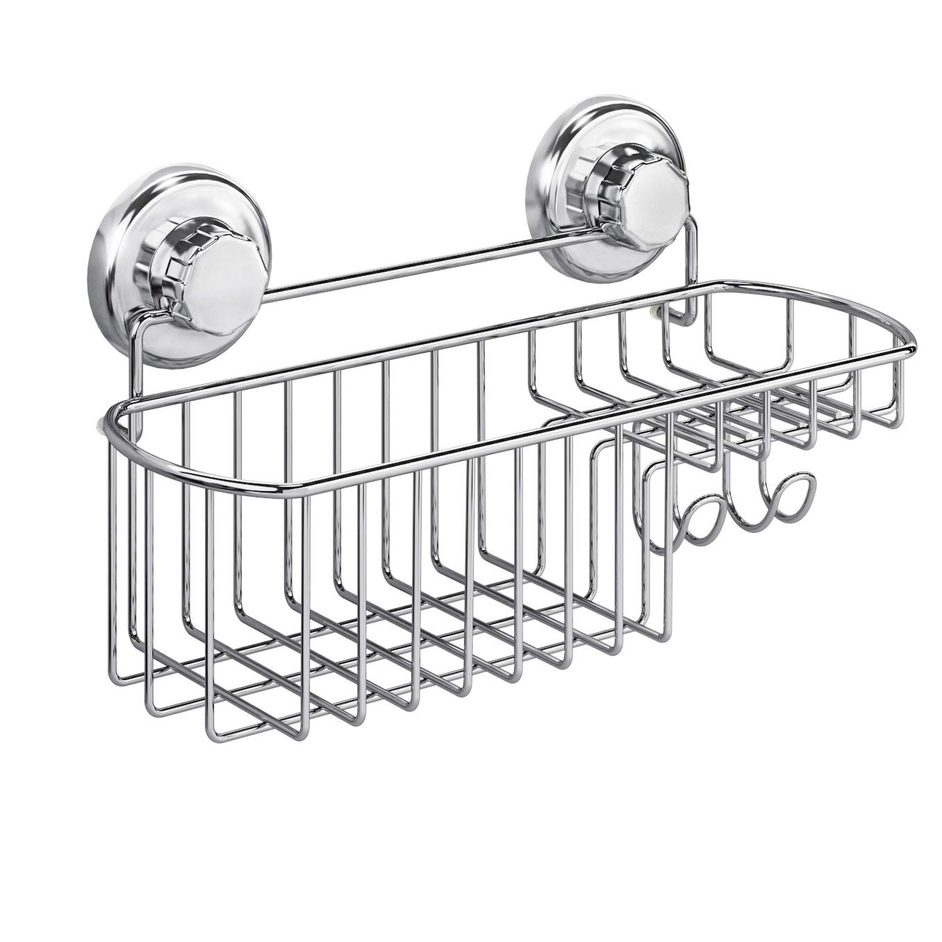 HASKO accessories - Powerful Vacuum Suction Cup Shower Caddy Basket for Shampoo - Combo Organizer Basket with Soap Holder and Hooks - Stainless Steel Holder for Bathroom Storage (Chrome)