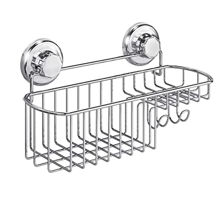 HASKO Kitchen Soap Dish Holder with Hooks Vacuum Suction Cup Mounted Organizer
