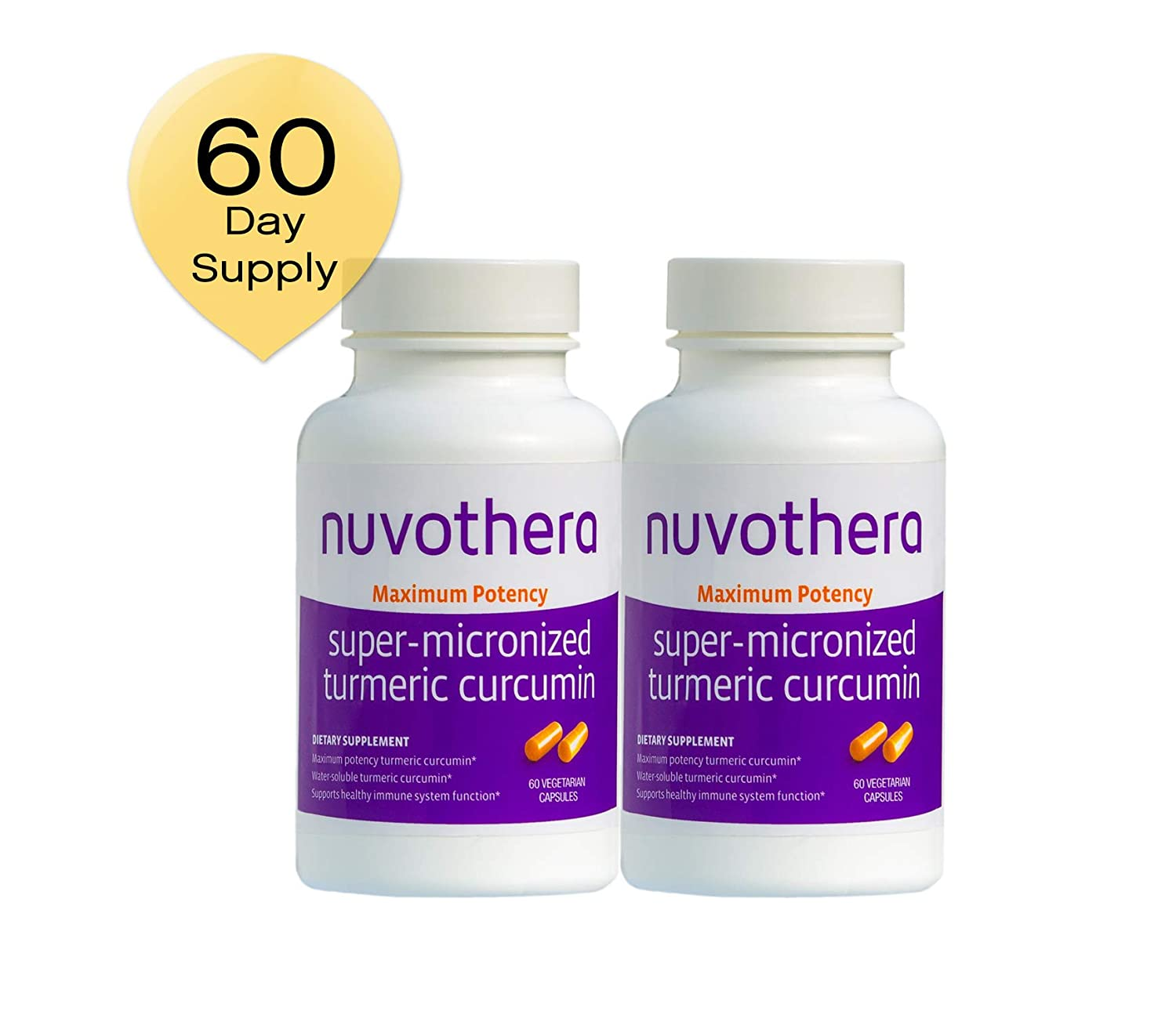 Nuvothera Super Micronized Turmeric Curcumin Supplement 60 Capsules 500 mg , 2 Count, Maximum Potency Whole Turmeric Root and Full Strength Curcumin-Natural Anti-Inflammatory, 2 Month Supply