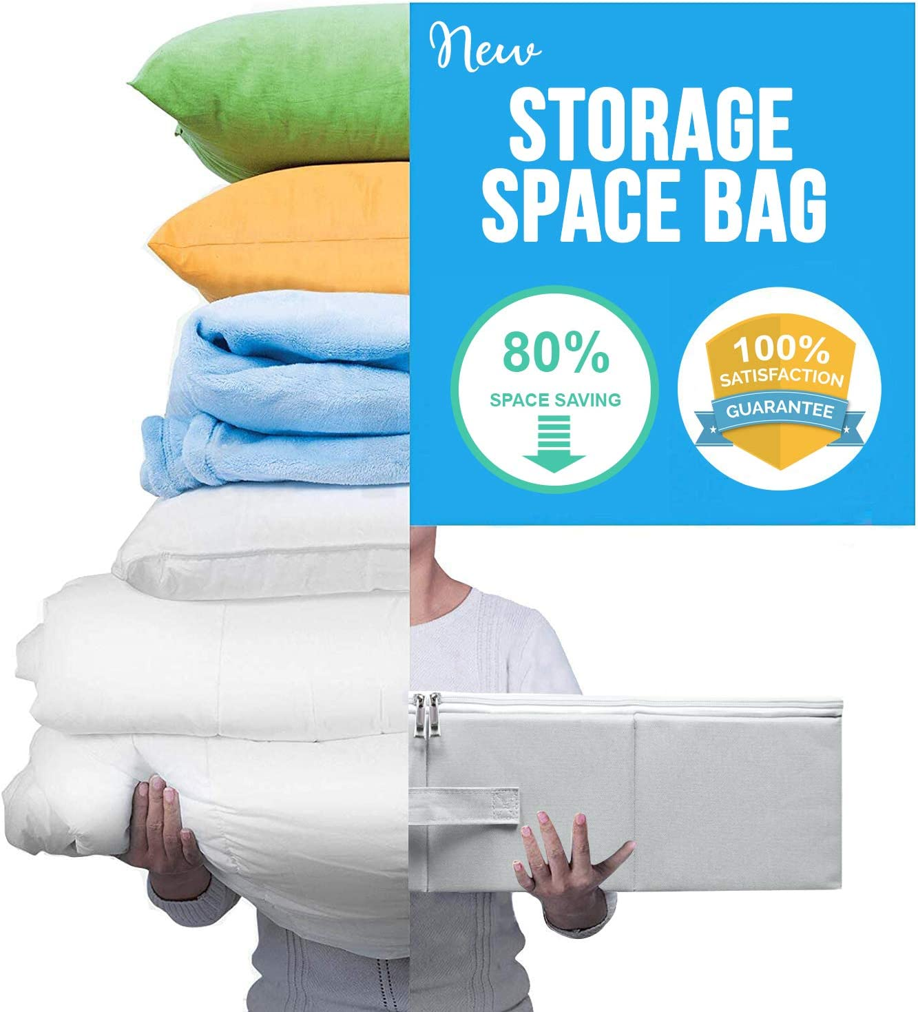 New Storage Space Bag / Luxurious Storage Box Tote with Reusable Vacuum Space Saver Bags. Organizing System that Protects Your Comforters, Clothing, Bedding, & More! (3Pcs Set) (Gray - Under the Bed)
