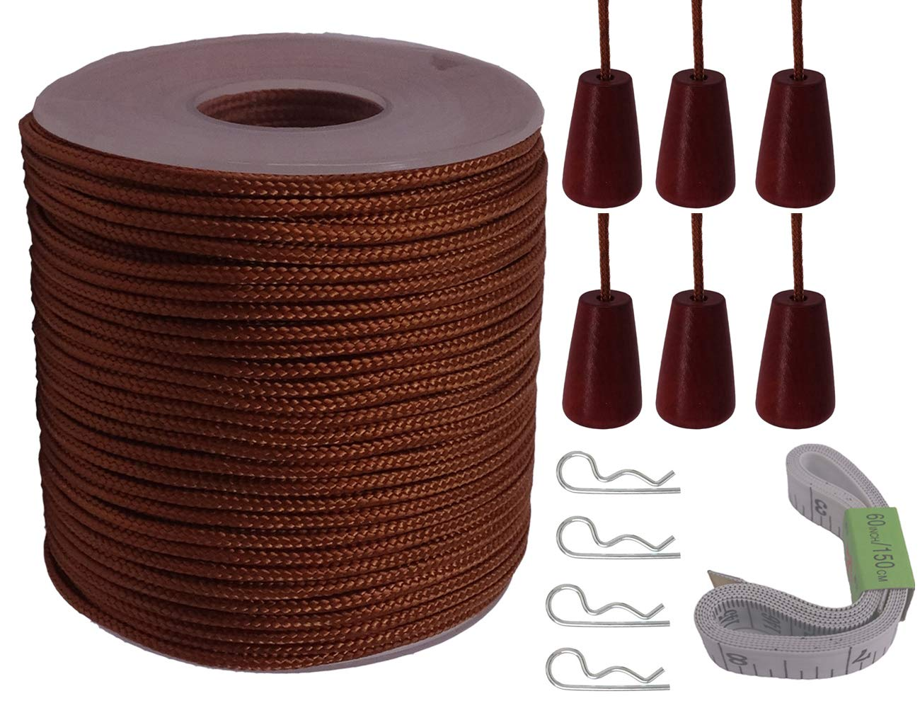 Y-Axis Roll of 60 Yards 2.0mm Brown Braided Nylon Lift Shade Cord with 6 Pack Brown Wood Cord Knobs + Soft Tape