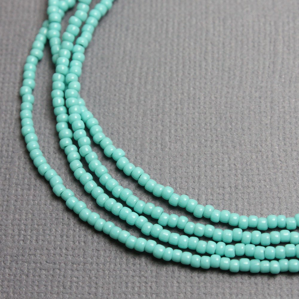 Amazon.com: Turquoise Seed Bead Necklace, Shiny Turquoise Color ...