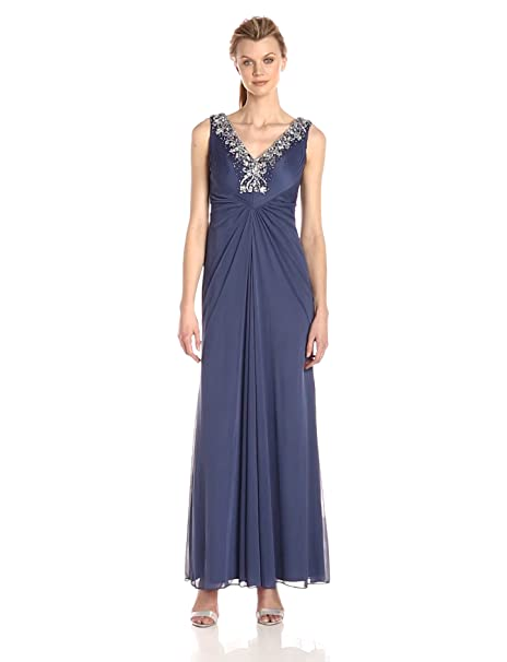 1940s Evening, Prom, Party, Formal, Ball Gowns Alex Evenings Womens Long Sleeveless A-line Dress with Beaded Neckline $239.00 AT vintagedancer.com