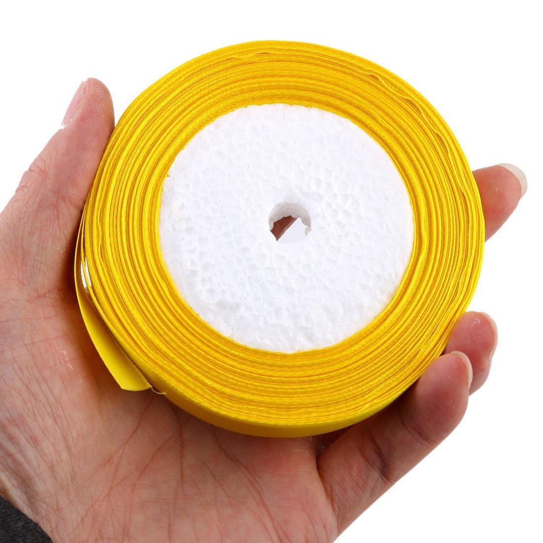 Amazon.com: eDealMax poliéster de decoración de Interior del embalaje del Regalo de la Cinta del Rollo de artesanía satén 5pcs Cinta amarilla: Health ...