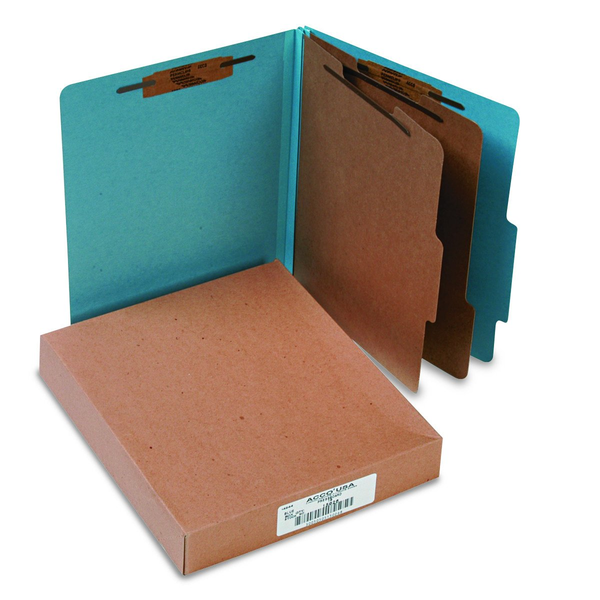 ACCO Classification Folders with Fasteners, Pressboard, 6-Part, Letter Size, Blue, 10 per Box (A7015026) by ACCO