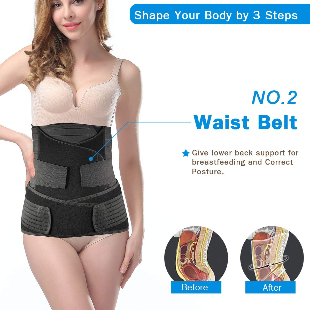 TiRain 3 in 1 Postpartum Belly Support Recovery Belly//Waist//Pelvis Belt Postpartum Belly Wrap Band