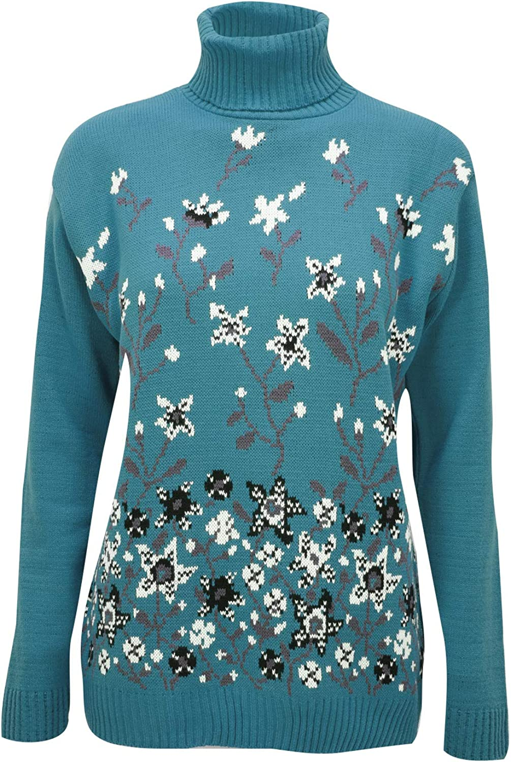 Fashion Star Womens Ladies Floral High Neck Oversized Jumper