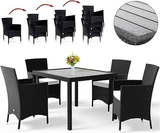 Deuba Conjunto de jardín sillas y mesa de poliratán WPC 4 sillas ...