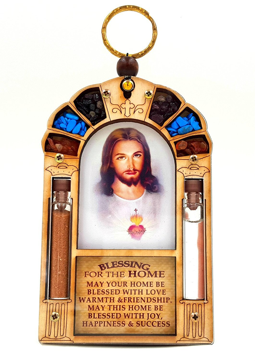 Home Blessing Wall Hanging Sacred Heart of Jesus Catholic Gift with Holy Water & Soil Talisman4U LAJB-1
